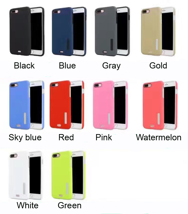 Hot selling high quality slim anti shock solid color rubber feeling PC with TPU 2in1 phone case back cover for iphone 7 plus