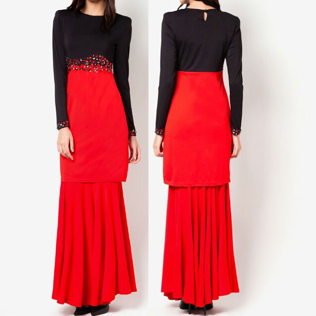 wholesale baju kurung and baju melayu ladies black and red malaysia islamic clothing