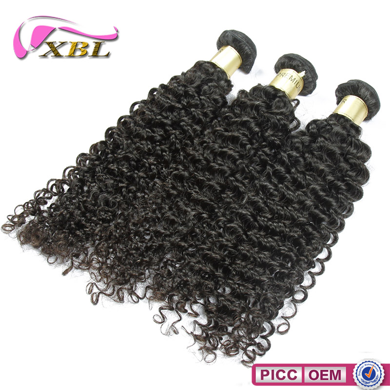 XBL Natural Color Curly Wave Remy Peruvian Hair Weaving Made In China