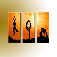 Fast Shipping Best Gym Decorate Handmade Yoga Lady Oil Painting