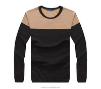 fashion men two color splice crew neck knit woolen design pullover nice sweater