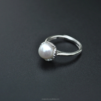 New Product Small Pearl silver rings Engagement jewelry diamond ring