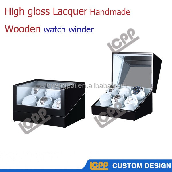 China Dongguan factory made wholesale high glossy lacquer antique wooden 6 Mabuchi motors automatic watch winder