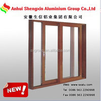 wooden finish aluminum alloy sliding door and windows frame