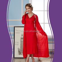 Good price sexy soft long sleeve ladies spaghetti strap cotton nightgown