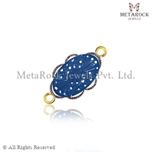 925 Sterling Silver Connector Pave Diamond Connector 14k Gold Jewelry Sapphire Gemstone Jewelry Wholesale