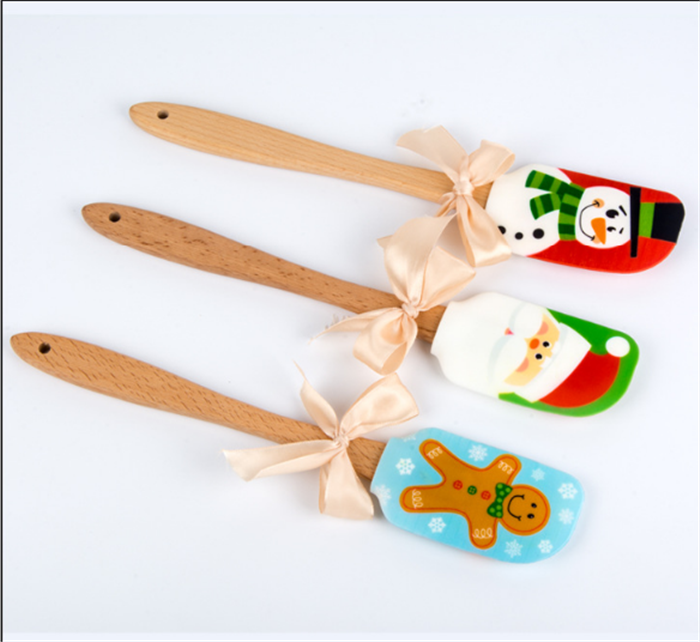 Silicone Head With Wooden Handle cooking Christmas heat resistant gift silicone spatula for cooking