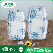 Most popular unique shape party ceramic cheese plate with printing blue rose