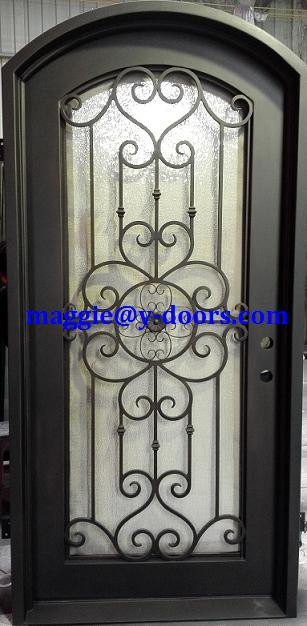 Eyebrow arch wrought iron single door steel entry door front security screen main door