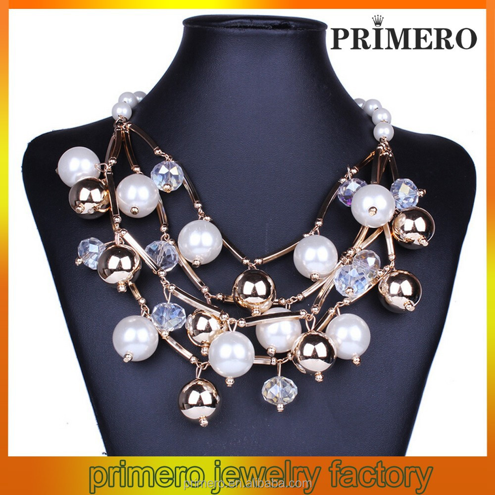 Fashion alloy necklace Hand-beaded multilayer imitation pearl necklace black and white bead necklace