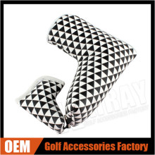 Black & White Triangle Magnetic Putter Cover With Small Blade Putter Cover Synthetic Leather