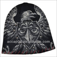 knit animal black screen printed knit beanies hats