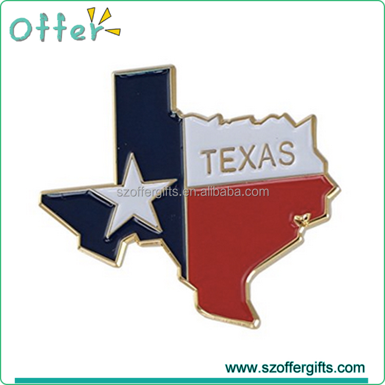 Custom State Shape of Texas and Texas Flag Lapel Pin