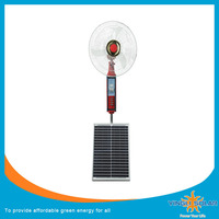 Solar Rechargeable Fan 12V AC DC Solar standing Fan with LED Light for home