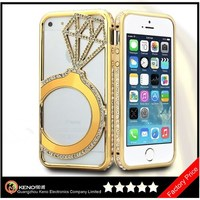 Keno New Phone Case, Hand-made Diamond Crystal Bling Metal Hard Case Cover for iPhone 5/5S