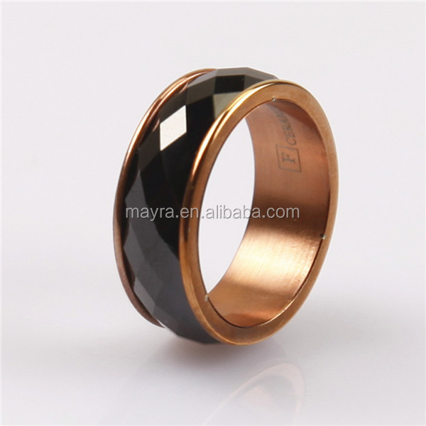 best selling titanium steel ceramic inlaid wedding band ring