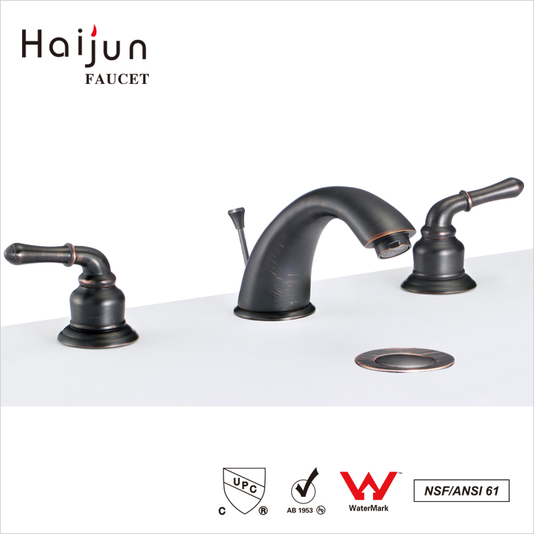 Haijun China Price 3 Holes Thermostatic Deck Mounted Wash Basin Faucet