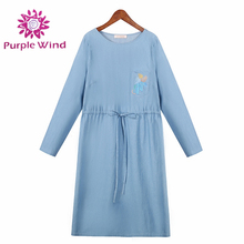 Comfort long sleeve ice blue women maternity jeans dress with embroider