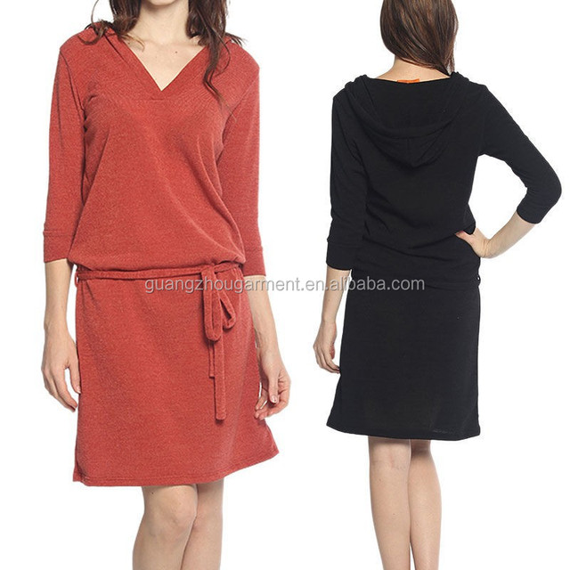 Casual Fitted dress 3/4 Sleeve Belted V Neck Pullover Hoodie Dress knit Stretchable