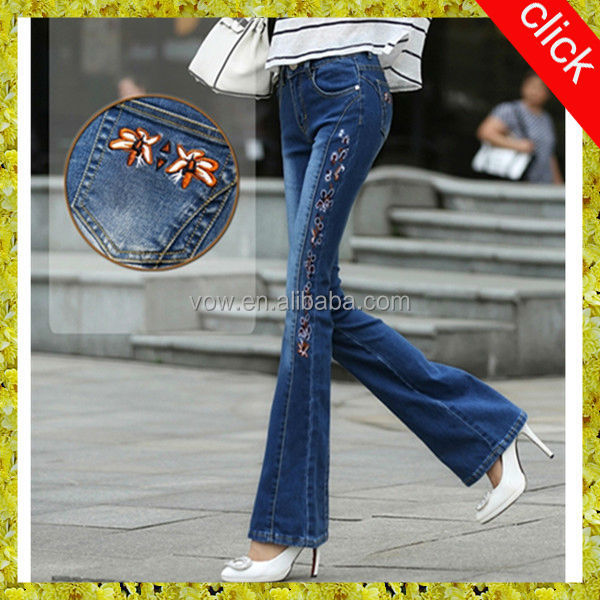 New style individual trousers women,latest design embroidery loose baggy light blue and black wide-legged denim flared jeans