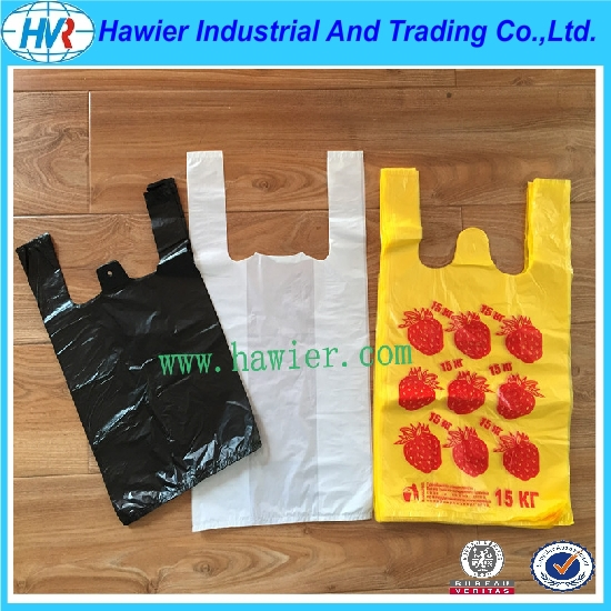 Shandong Hawier Produced Plastic Vest Carrier T-shirt Bag for Shopping