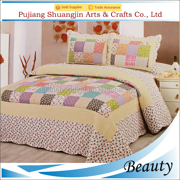100% polyester fabric colorful plaid cotton filling patchwork thick quilt