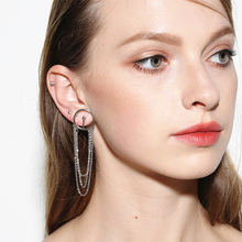 Hot Style Small Alloy Chain Jewelry Temperament Wild Tassel Earrings