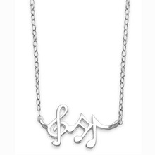Silver Tone Mini Music Noted Pendant Charm Necklace