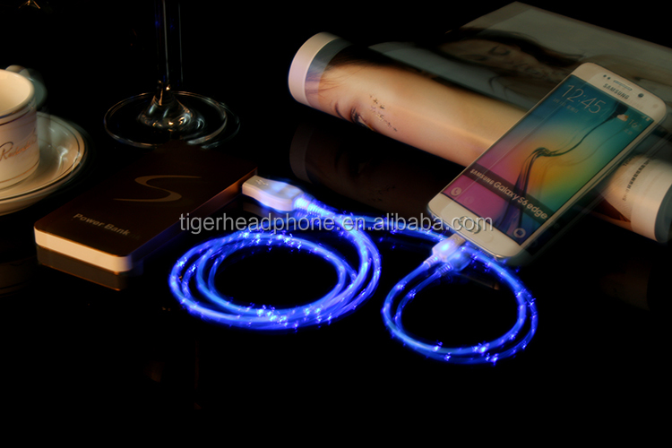 Colourful changing glow cables led light cable micro usb,flashing cable