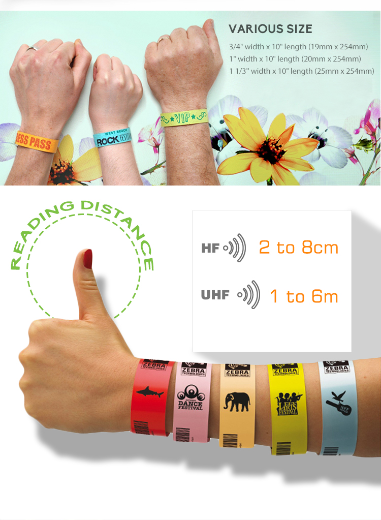 Fashion Wearable UHF Alen H3 RFID Tyvek Paper Wristband for Sports Event