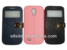 For Galaxy S4 Mini i9190 Stand PU Leather Case With Window