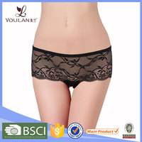 New Arrival Good Quality Transparent Sexy Black Flower Lace Underpants Women