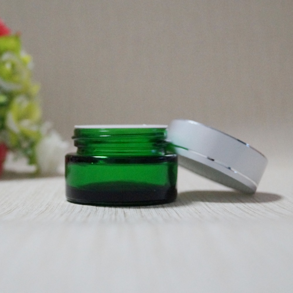 China supplier custom logo 10g green glass eye cream jar