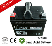 2016 best price Matrix 12v33ah solar AGM battery price from manufacturer