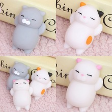 Wholesale price Cute 3D Soft Silicone PU Squishy cat Animals Toy Squeeze Pinch Toys for hand