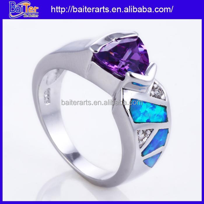 925 Sterling Silver Opal And Amythest Affordable Wedding Rings
