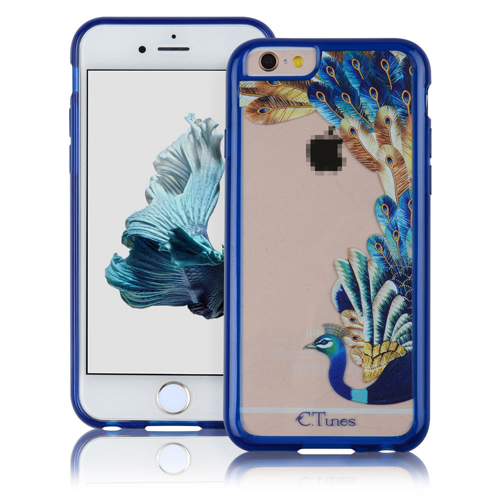 C&T Blue Ray Glitter colorful Hard Peacock panel gel case cover for iphone 6 plus