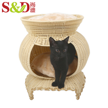 small rattan handmade indoor cat house pet cages