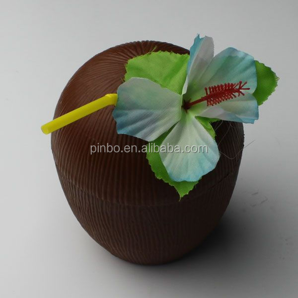 Plastic Coconut Cup With Flower and Drinking Straw