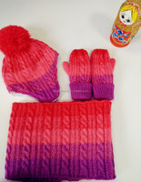 Gradiant Colors Pompom Knitted Children hat w/earflap hat/scarf/mitten set