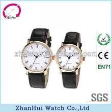 2013 noble couples wrist watch upscale black leather strap and white dial and gold bezel watch for lovers quartz watch