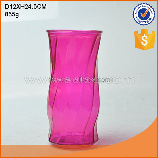 Round clear home decoration glass flower vase with base