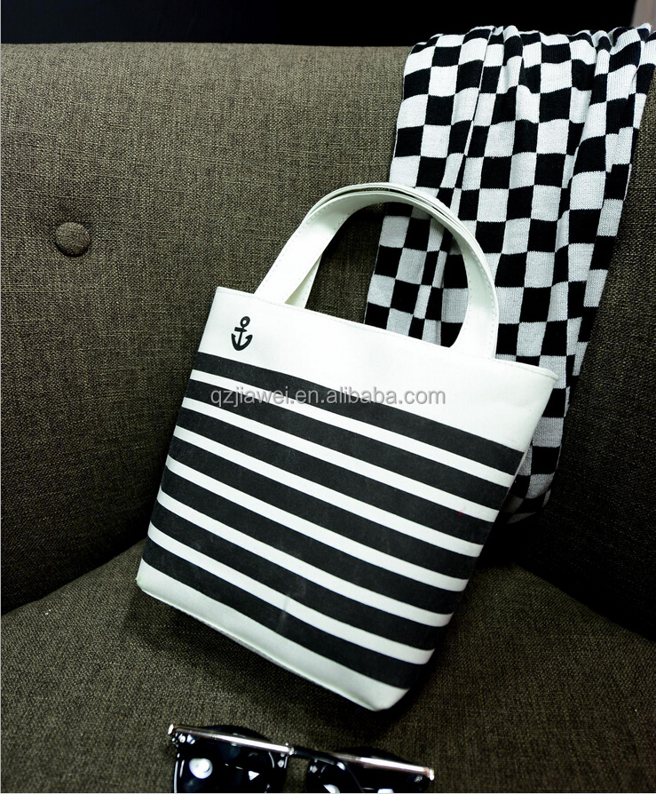 Small size canvas lady hand bag Classic black and white match fashion tote bag