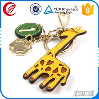 Cheap custom embossed shaped leather cartoon character keychains