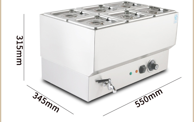 Commercial Stainless Steel Electric Soup Heater Pot Six-Pots Keep Warm in Fast-Food & Restaurants