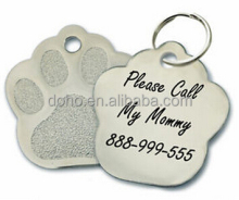 Low price dog paw print shape Laser engraving dog tags for pets