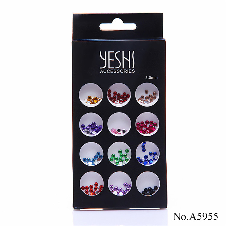 A5955 Wholesale Non hot fix 3mm round colorful acrylic DIY rhinestone for Nail Art Decoration