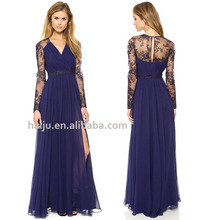 Hot sale lace embroidered splice chiffon beautiful lady one-piece maxi dress