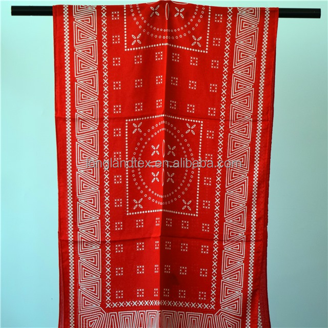 Red color fashion men head 100 cotton scarf