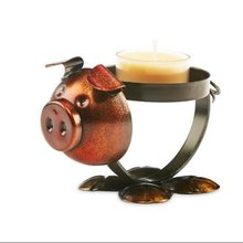 Brown and Bronze Metal Rustic Chic Pig Decorative Tealight Candle Holder 4.5""